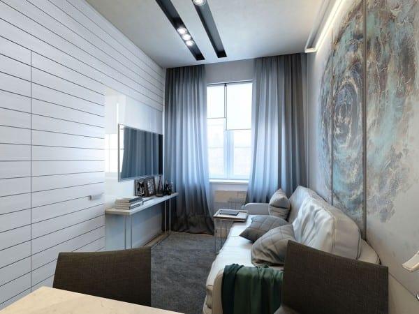 extrem kleine Zweiraumwohnung mit cooler wandverkleidung weiß-sideboard dekorieren