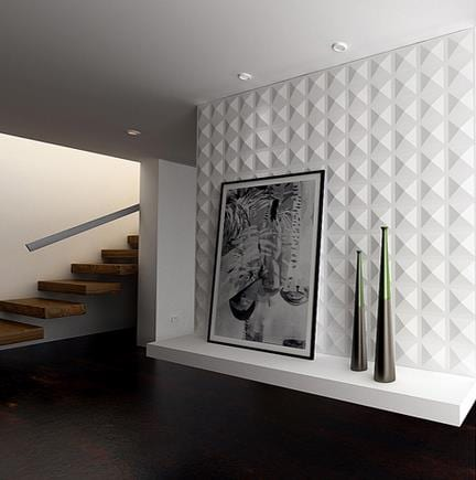 luxus wohnzimmer design mit weißem wandpaneelen aus pflanzen Fiber