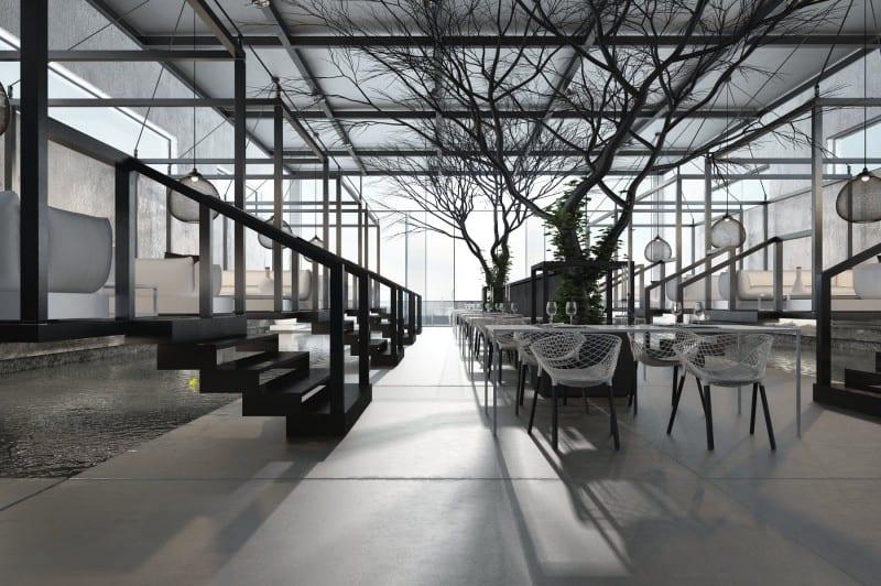 modernes interiot mit betonboden und betonwänden- restaurant einrichtung in schwarz weiß