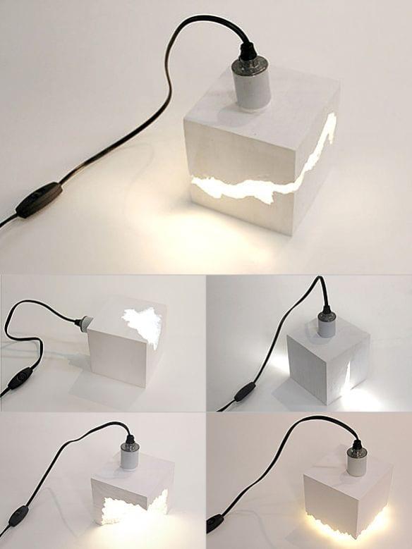 moderne pendelleuchte weiß aus beton-lampe selbe bauen