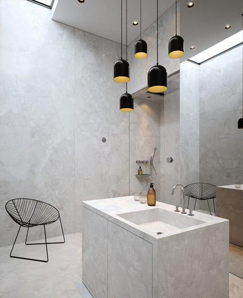 modernes badezimmer aus beton weiß mit waschtisch aus beton und modernen pendelleuchten schwarz