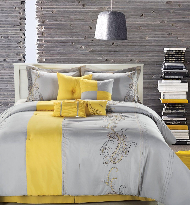 schlafzimmer grau mit bettwäsche grau und gelb-moderne pendelleuchte grau