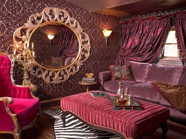 kleines wohnzimmer einrichten in violett-barock möbel inpirationen