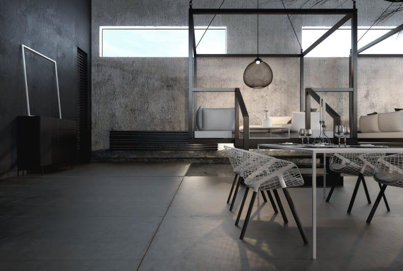 modernes restaurant interior ideen in schwarz und weiß mit glasbandfenstern- sideboard schwarz dekorieren mit weißen bilderrahmen