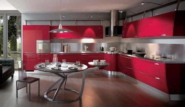 moderne küche rot mit rundem tisch metall