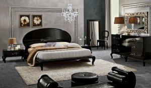 Schlafzimmer grau schwarz