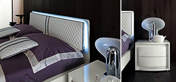 schlafzimmer inspiration mit lzxus set in weiß-modernes bett weiß mit kopfbrett leder und beleuchtung-bettwäsche lila