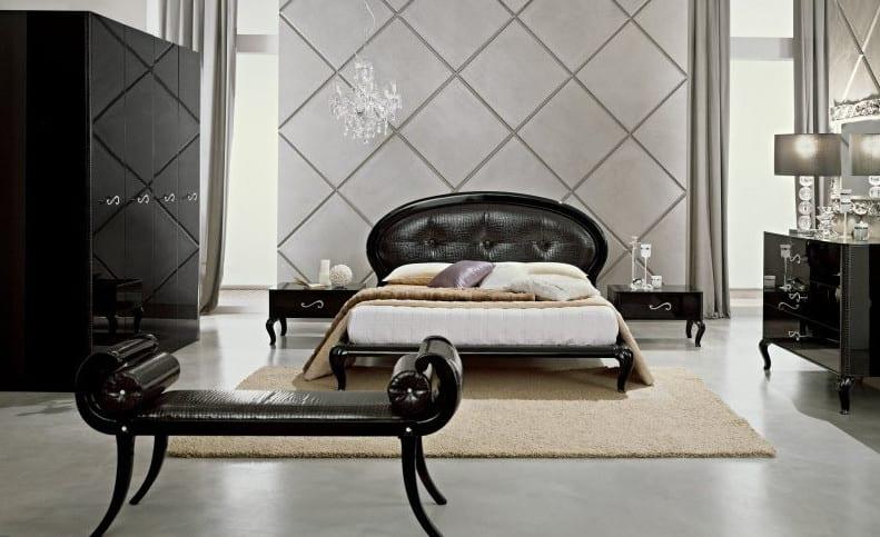 italienisches möbelstück set für modernes schlafzimmer-kleiderschrank und sideboard schwarz lack-wandfarbe schlafzimmer
