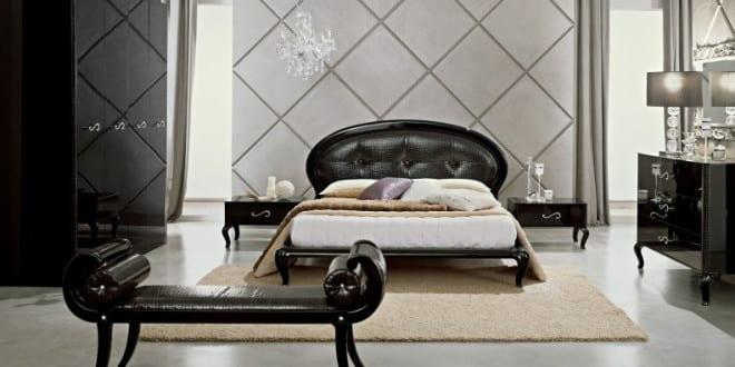luxus set f r schlafzimmer schwarz mit wandfarbe grau designer m belst ck freshouse. Black Bedroom Furniture Sets. Home Design Ideas