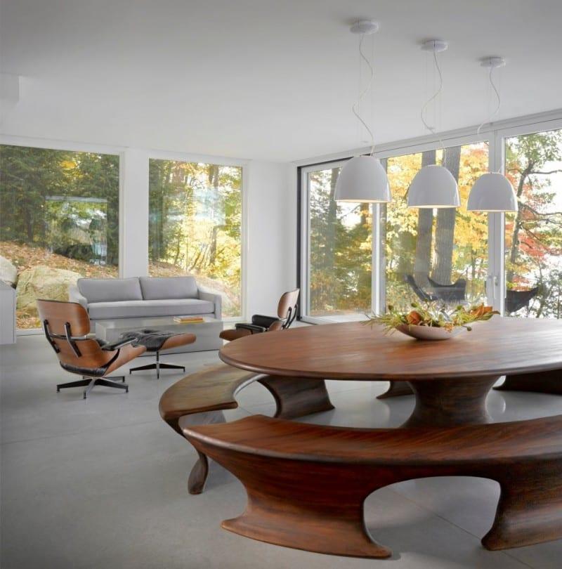 runder tisch idee für modernes wohn esszimmer mit weißen höhenverstelbaren pendelleuchten