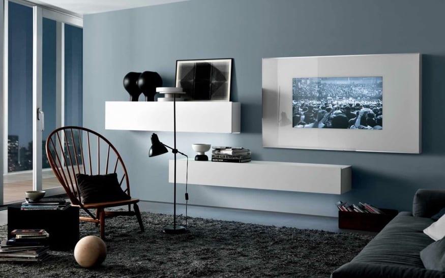 modernes wohnzimmer interior-streichen mit farbe blau-wandgestaltung mit weißen wandregalen