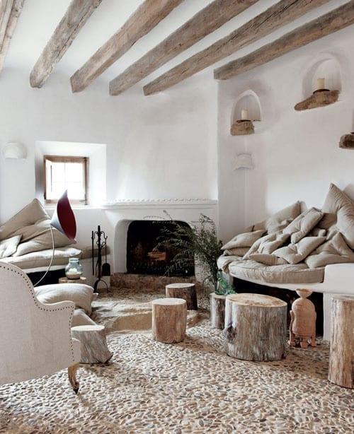 shabby wohnzimmer mit kreativen sitzecken wohnzimmer und bodenbelag aus steinen