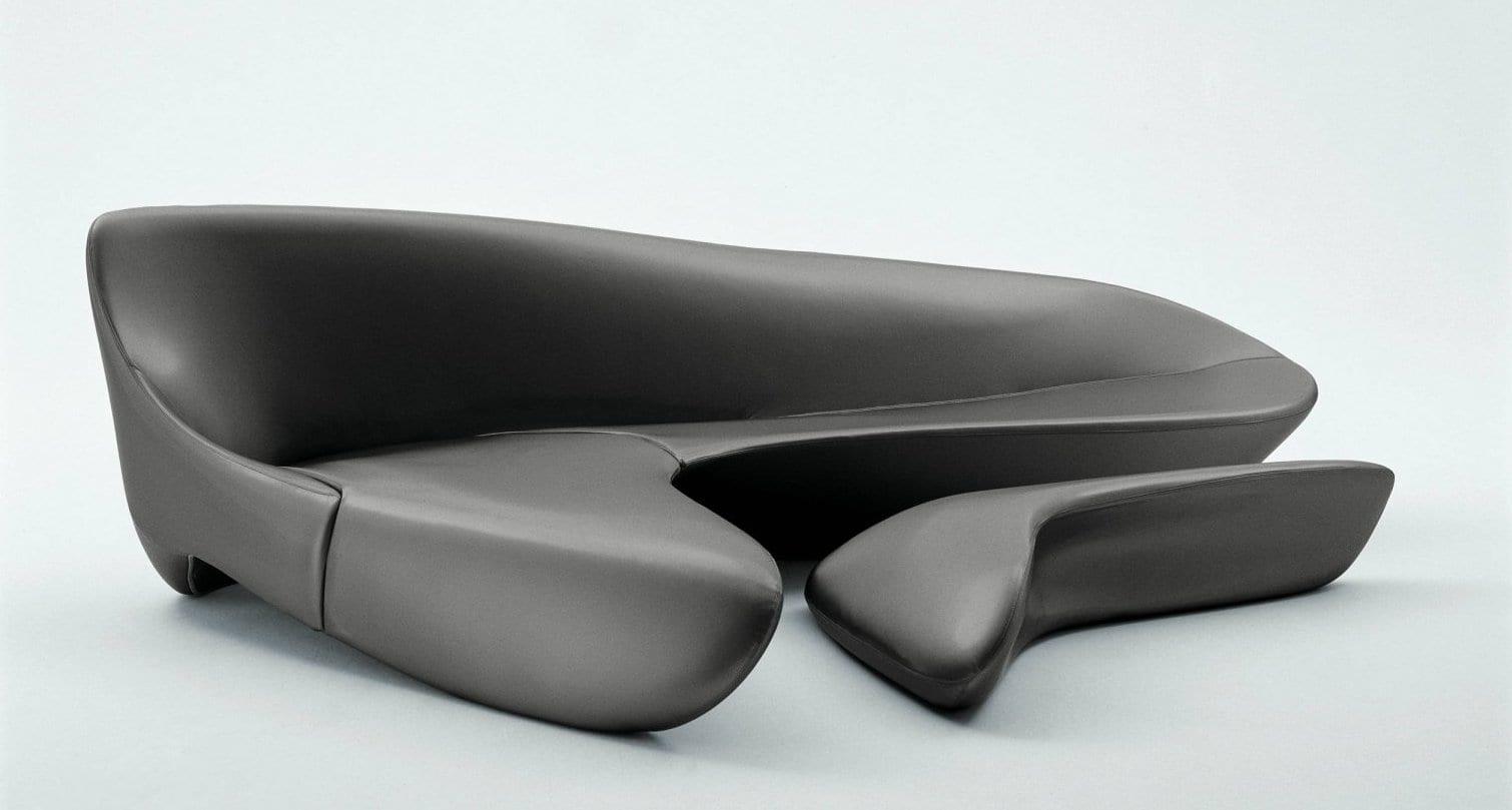 schickes sofa design mit polsterhocker grau- luxus wohnzimmer gestaltung mit modularen seats and sofas