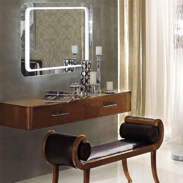 lzxus set für modernes schlafzimmer mit wandfarbe grau-hocker und sideboard holz-wandspiegel mit beleuchtung-schlafzimmer wandgestaltung