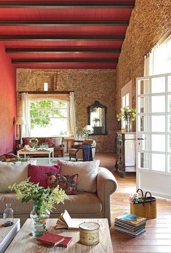 wohnzimmer beispile für stylisches wohnzimmer mit roter decke und steinwand