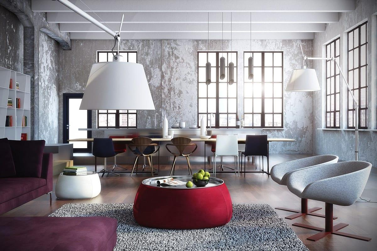 luxus wohnzimmer im loft appartement mit ecksofa violett und runder couchtisch rot
