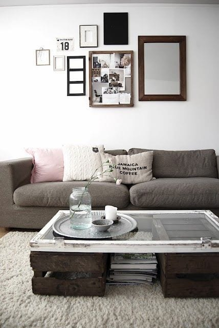 modernes wohnzimmer desihn mit DIY couchtisch_bilderrahmen dekorieren