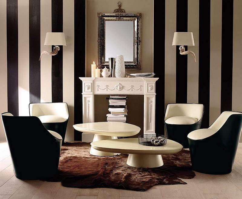 wohnzimmer inspirationen mit streifen wandmuster und weißem kamin-moderne seats and sofas-wandgestaltung ideen