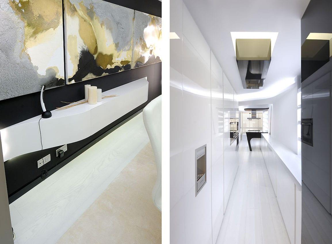 wandfarbe schwarz mit coole bildern als wandgestaltung und designer wandregal weiß- moderne küche weiß