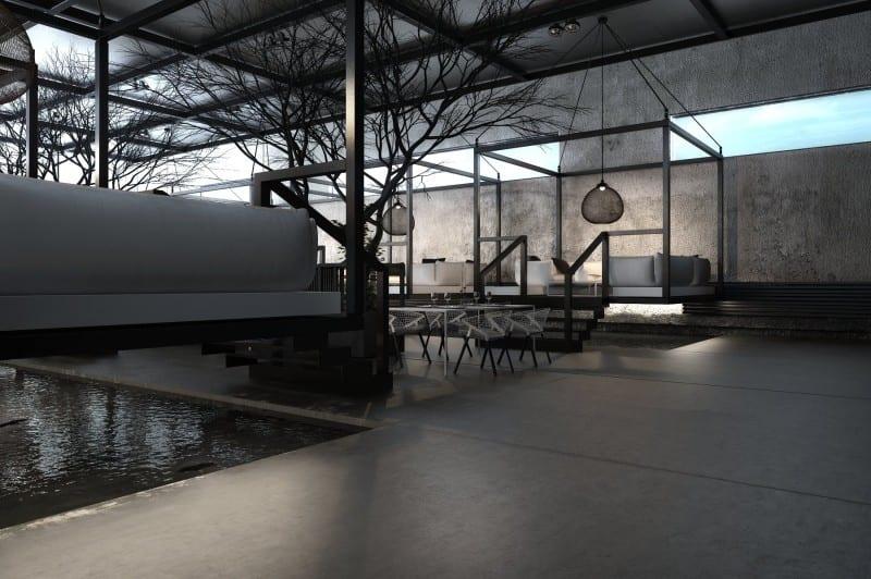 Luxus Interior Design Mit Beton Und Lichtgestaltung Mit Fensterbändern Und  Oberlichtern