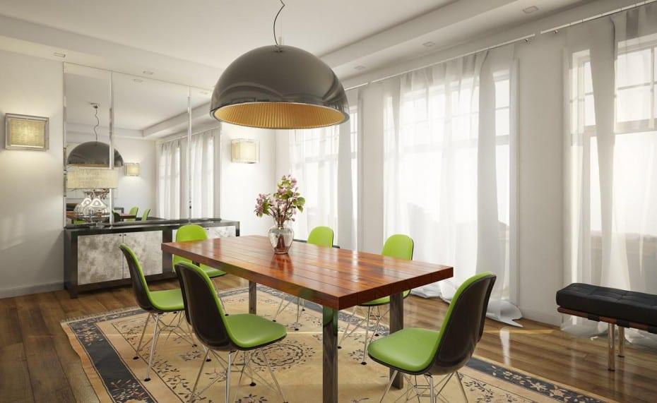 modernes wohnzimmer design mit holzboden und moderne esszimmerstühlen in schwarz und grün-sideboard dekorieren