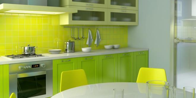 moderne küche grün mit esstisch rund in weiß - fresHouse