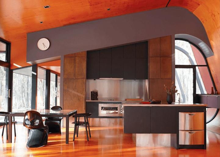 luxus küche grau mit kochinsel und esstisch schwarz