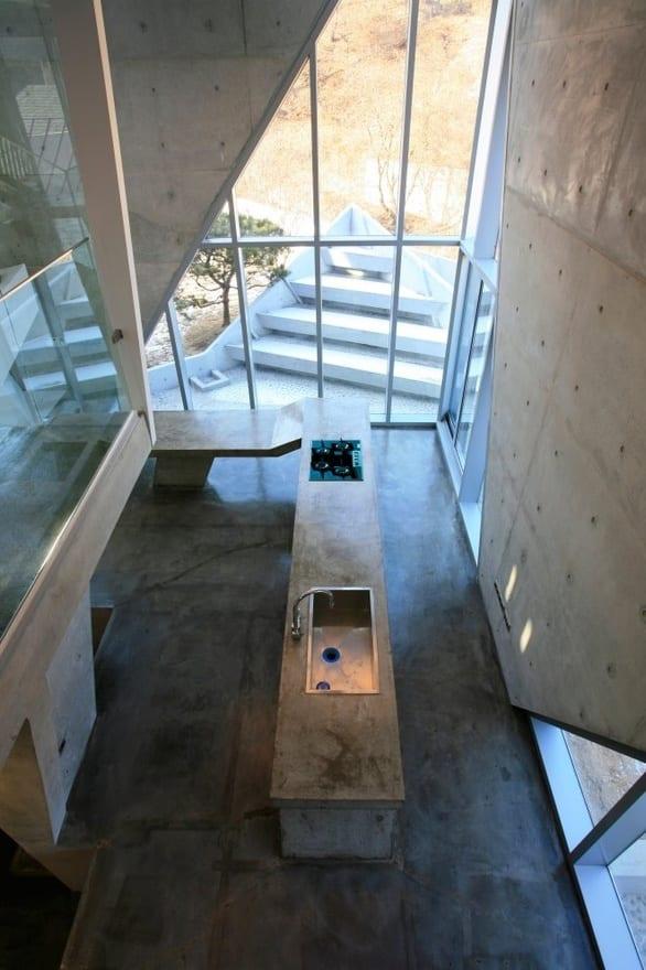 betonbau mit küche aus beton-moderne küchearbeitsplatte aus beton