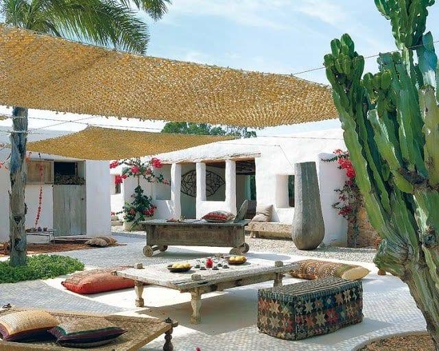 sonnensiegel terrasse für beschatttung von terrassengarten mit rustikale möbel