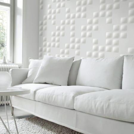 modernes wohnzimmer weiß mit sofa weiß und wandgestaltung von 3dWandpaneleen weiß