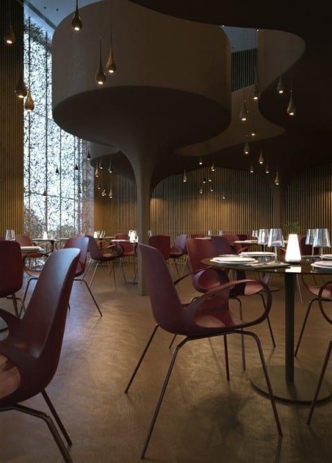 luxus restaurant interior design in holz und braune farbnuancen