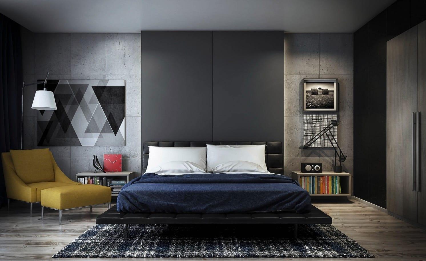 schlafzimmer grau mit holzboden und wände aus beton-lederbett schwarz- wandfarbe schwarz-polstersessel gelb