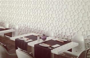 restaurant interior mit weißen 3d wandpaneelen - kreative wanddekoration