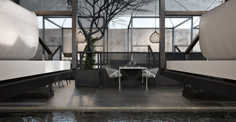 moderne raumgestaltung mit poliertem betonboden und teichbecken-Interior design mit Bäumen und moderne Pendelleuchten