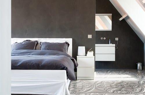 modernes schlafzimmer mit modernem bodenbelag in 3d optik freshouse. Black Bedroom Furniture Sets. Home Design Ideas
