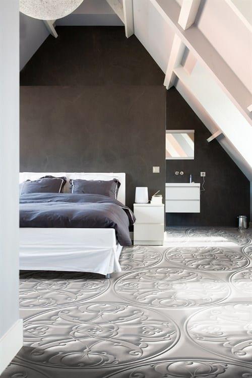 schlafzimmer dachschräge it wandfarbe braun und deckengestaltung