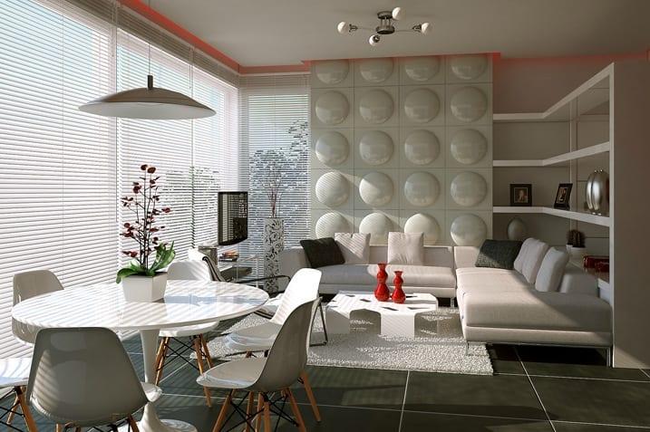 luxus wohnzimmer weiß mit indirekter deckenbeleuchtung rot- 3D Wandpaneele als wandgestaltung-eckregal als raumteiler
