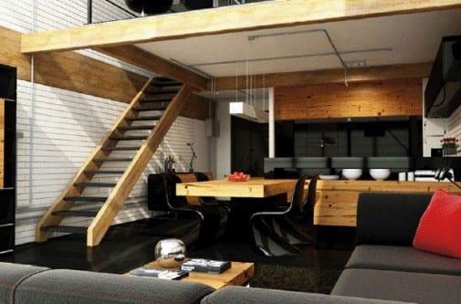 mezzanin wohnung gestalten-holzesstisch mit schwarzen esszimmerstühlen-ecksofa schwarz-moderne küche schwarz