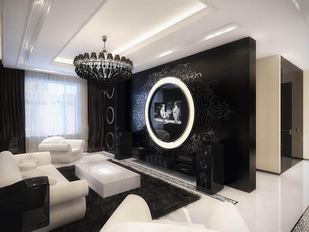 luxus wohnzimmer mit schwarzer wand und eingebautem fernsehen-deckengestaltung