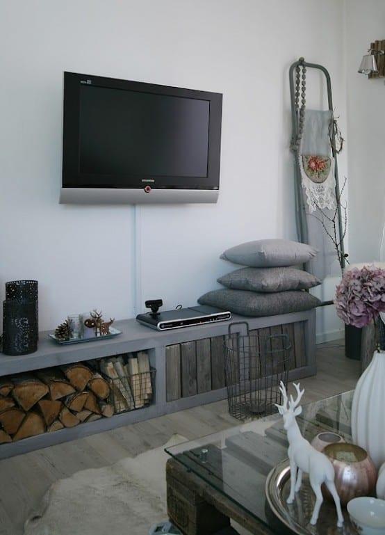 wohnzimmer grau mit sideboard rustikal