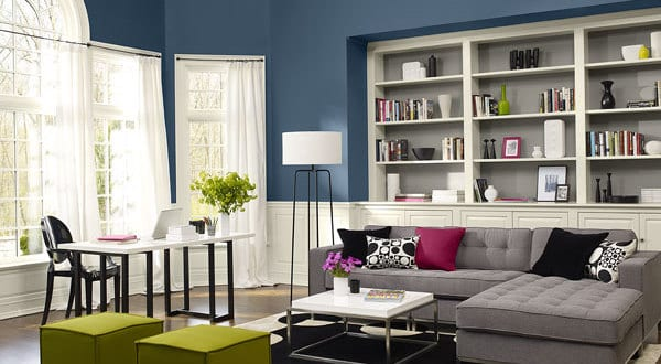modernes wohnzimmer mit wandfarbe blau streichen. Black Bedroom Furniture Sets. Home Design Ideas