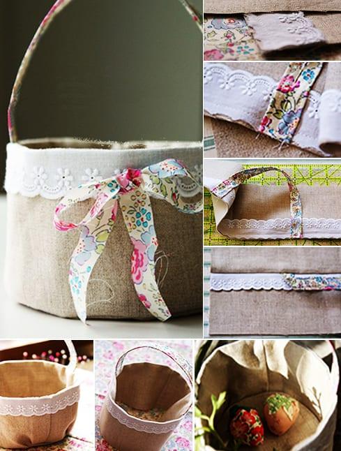 osternest basteln mit textilien