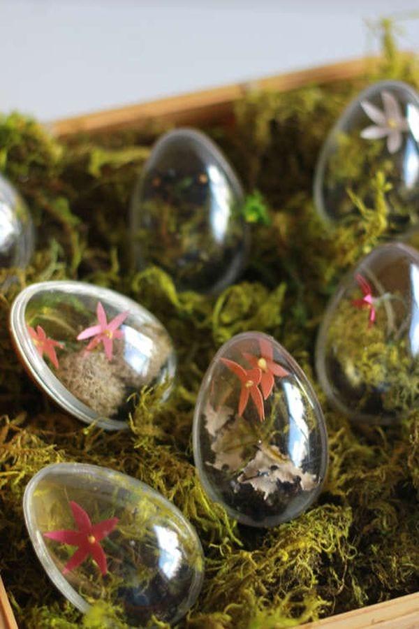 bastelideen ostern mit moss und kunsteiern