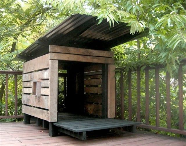 diy hundehütte aus europaletten-coole hundehütten