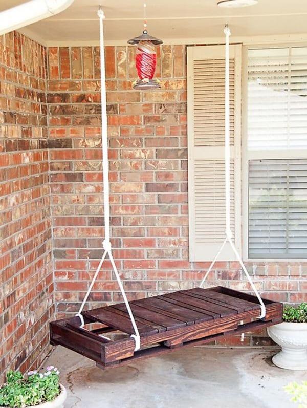 terrasse ideen mit schaukel aus paletten