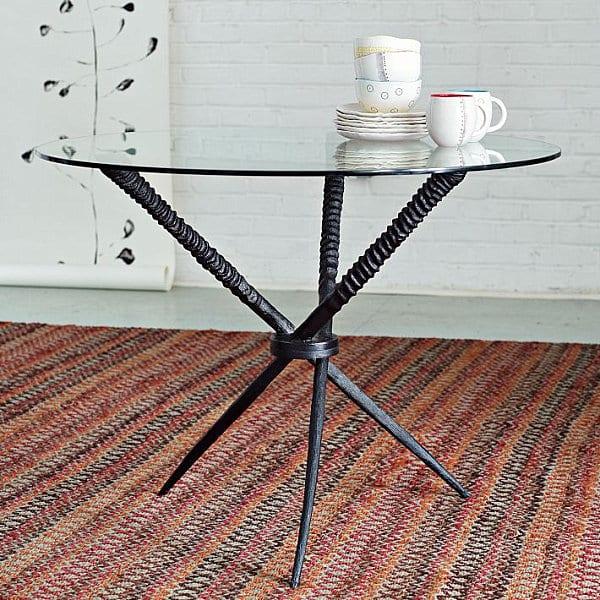 esstisch rund mit glasplatte und dre stahlbeinen schwarz