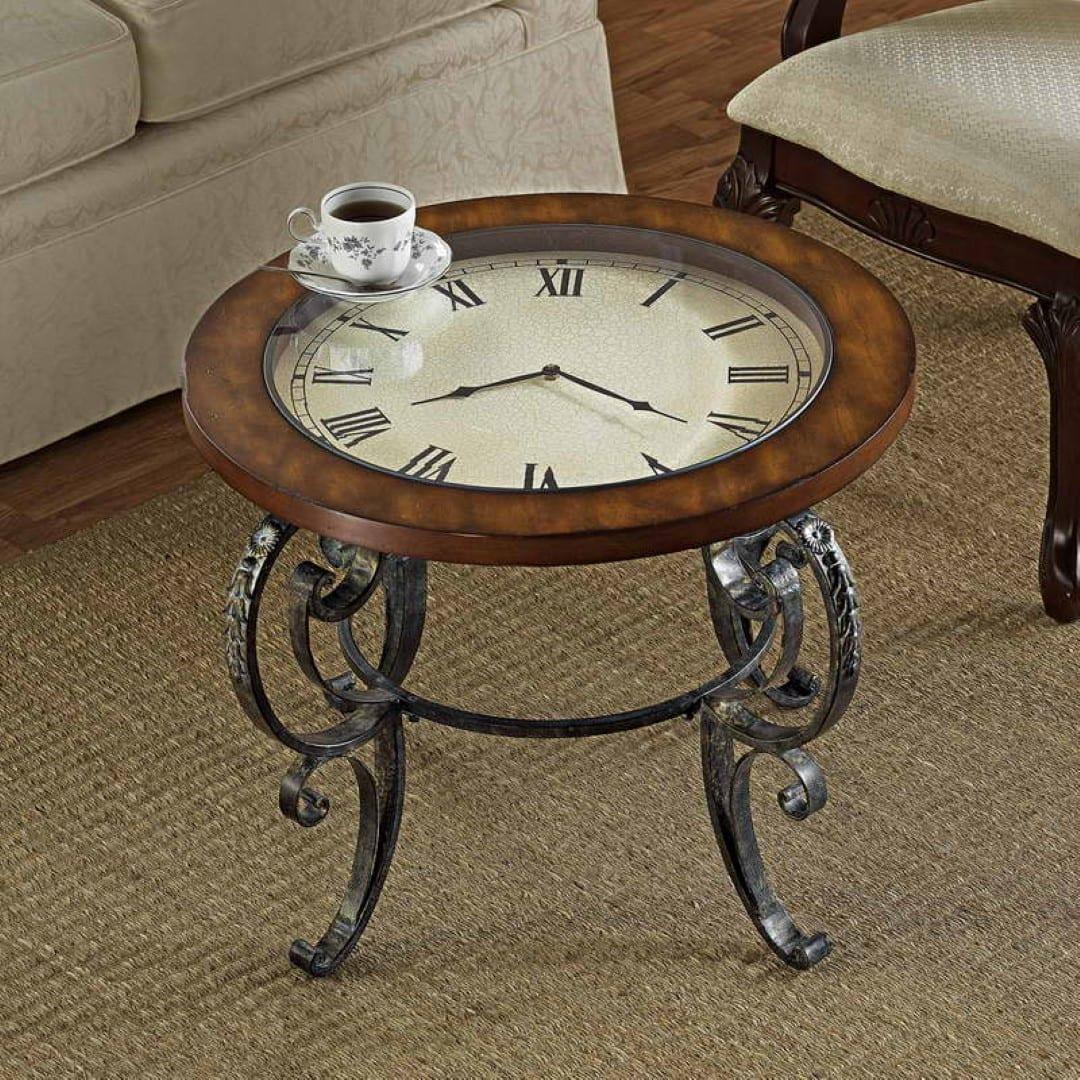 vintage runde tische aus stahl und holz für wohnzimmer rustikal
