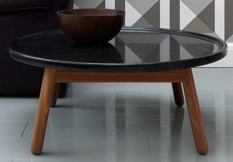 luxus couchtisch holz mit runder tischplatte aus schwarzem naturstein
