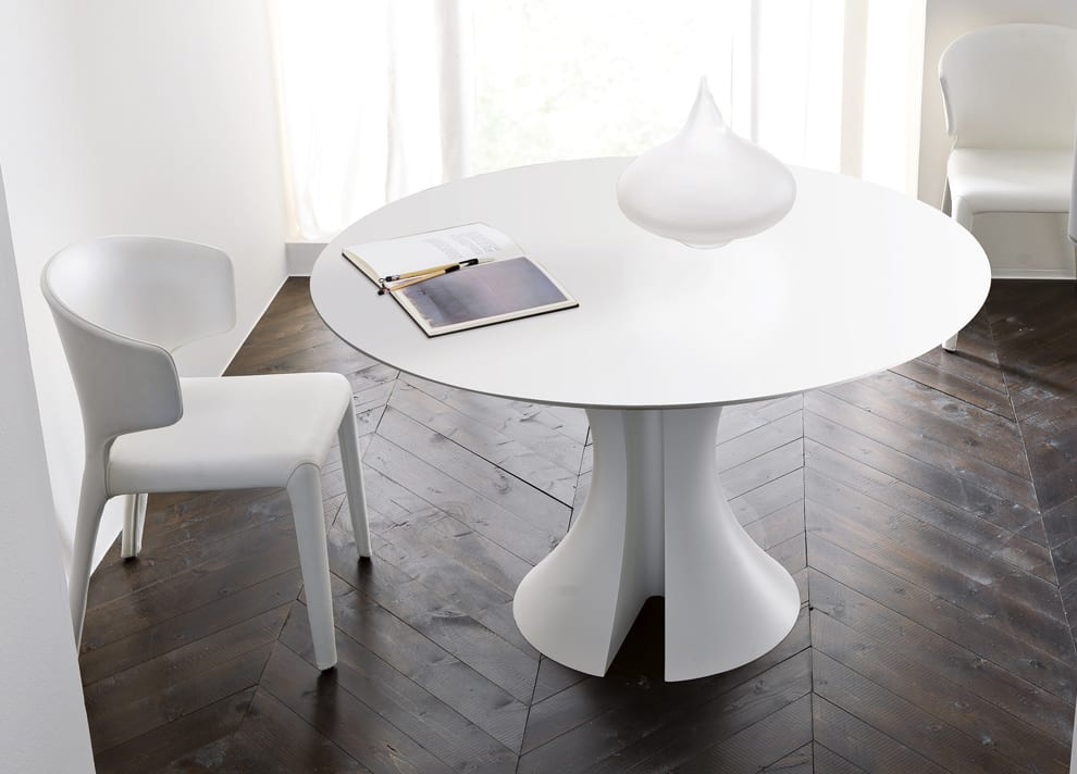 White Lacquer Dining Table Round