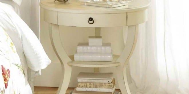 runder tisch wei als nachttisch rustikal freshouse. Black Bedroom Furniture Sets. Home Design Ideas